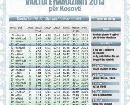 Vaktite e Ramazanit ne trojet shqiptare
