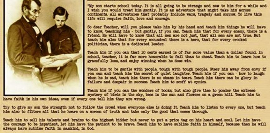 Letra e Abraham Linkoln për mësuesin e djalit të tij në ditën e fillimit të shkollës