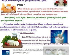 Konsumoni qumësht dhe prodhime të qumështit me përqindje të vogël të yndyrës dhe kripës