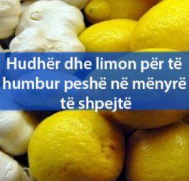 Hudhër dhe limon për të humbur peshë në mënyrë të shpejtë