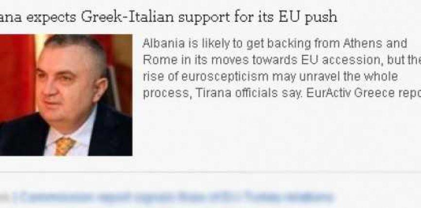 Integrimi, Tirana pret mbështetjen greko-italiane