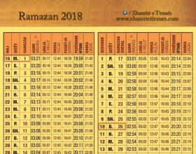 Vaktia e Ramazanit 2018 për Shqipëri
